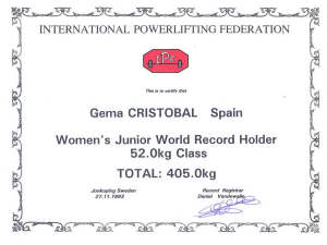 Gema record del mundo junior, Jonkoping (Suecia) 1993